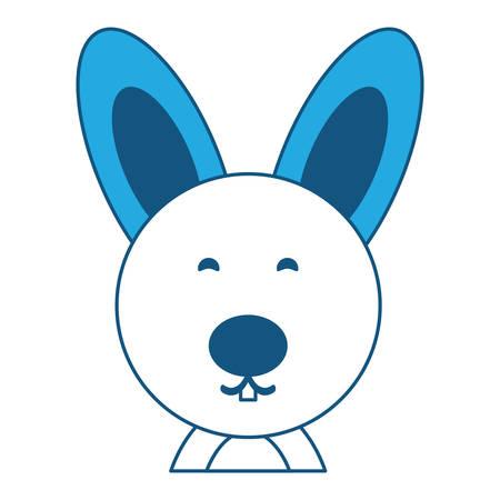 cute rabbit animal icon over white background, blue shading design. vector illustration Ilustração