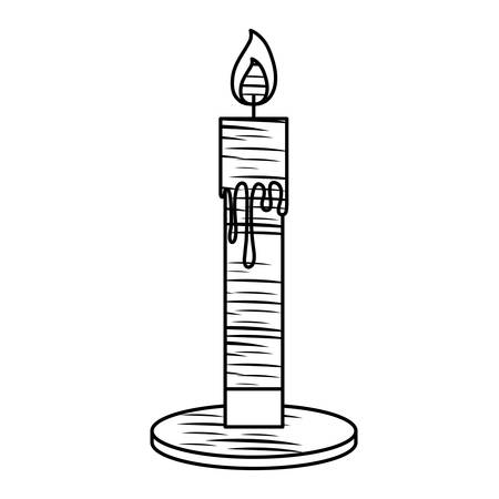 sketch of candle icon over white background, vector illutration