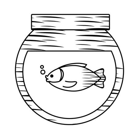 sketch of fishbowl icon over white background, vector illustration