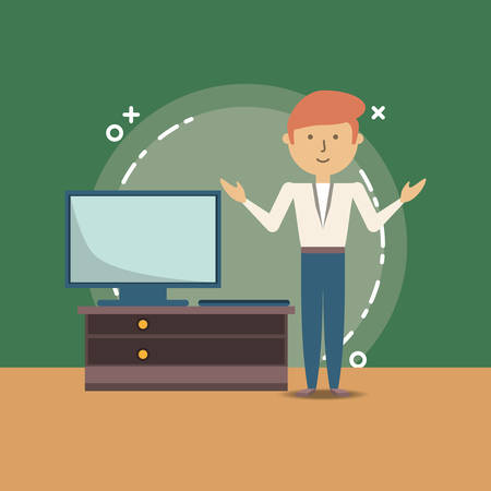 cartoon school teacher and television on a drawer over green background, colorful design. vector illustration