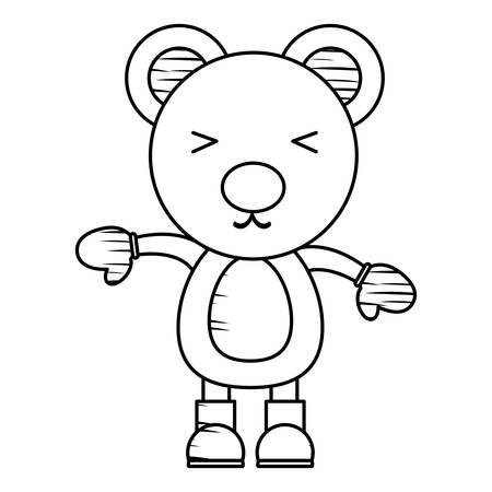 Sketch of cute bear with gloves and boots over white background, Christmas animals concept. vector illustration. Illustration