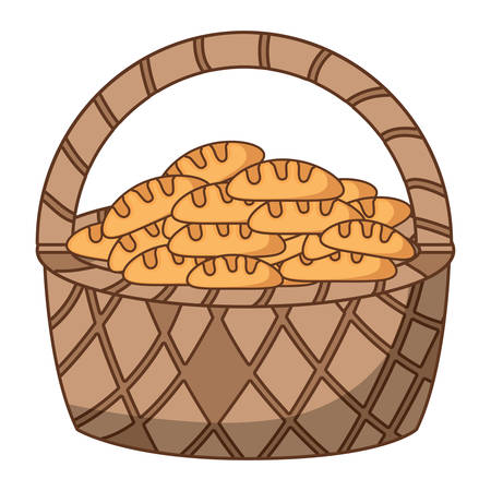 Basket with breads over white background, colorful design. vector illustration