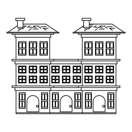 Residential houses over white background, vector illustration