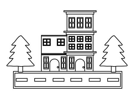 Street with houses and trees over white background, vector illustration
