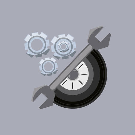 wrench tool with gear wheels and car tire over gray background, colorful design vector illustration Illusztráció