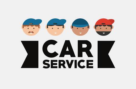 Car service design with mechanics men faces over gray background, colorful design vector illustration Çizim