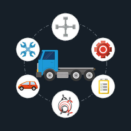 tow truck with mechanic tools around over black background, colorful design vector illustration