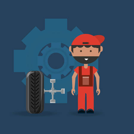 Car service design with mechanic man and car tire with lug wrench over blue background, colorful design. vector illustration Vettoriali