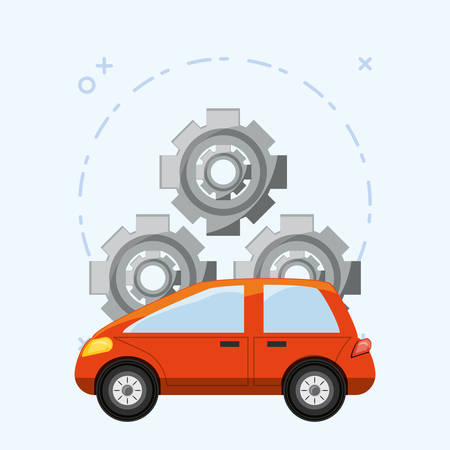 gear wheels and car over blue background, colorful design vector illustration
