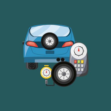 Car and tire gauge over blue background, colorful design vector illustration