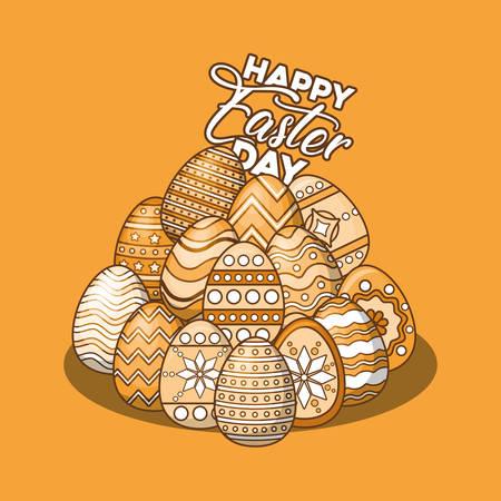 Pile of easter eggs over orange background, colorful design vector illustration