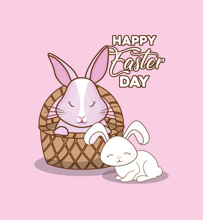 Happy easter design with basket with cute bunny over pink background, colorful design vector illustration Illustration