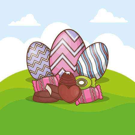Happy easter design with easter eggs and candies over landscape background, colorful design vector illustration