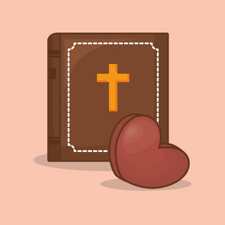 bible and chocolate heart icon over orange background, colorful design vector illustration Vettoriali
