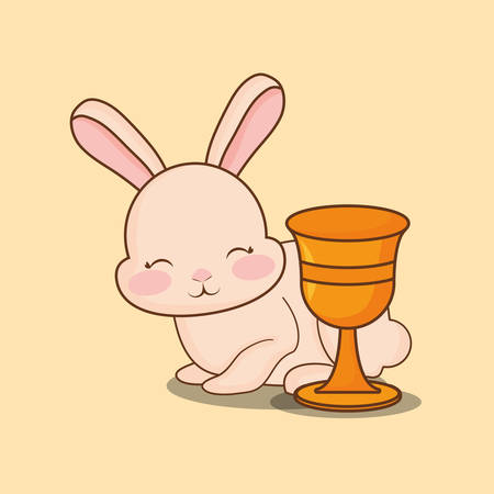Happy easter design with cute bunny and holy grail over orange background, colorful design vector illustration