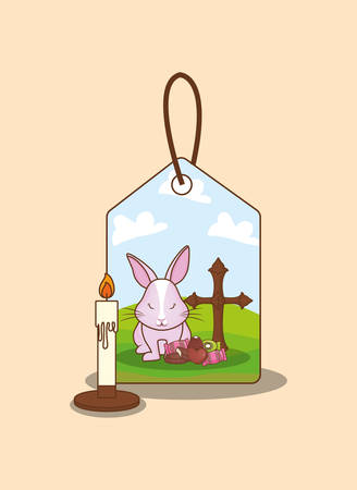 Cute bunny and tag with happy easter related icons over orange background, colorful design vector illustration