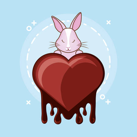 Cute bunny and melted chocolate heart over blue background, colorful design vector illustration Illustration