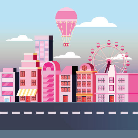 Old retro design of city buildings landscape with hot air balloon and fortune wheel, vector illustration