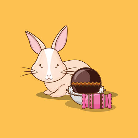 Cute bunny with chocolate candies over yellow background, colorful design vector illustration Illustration