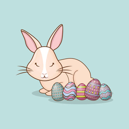 Cute bunny with easter eggs over blue background, colorful design vector illustration