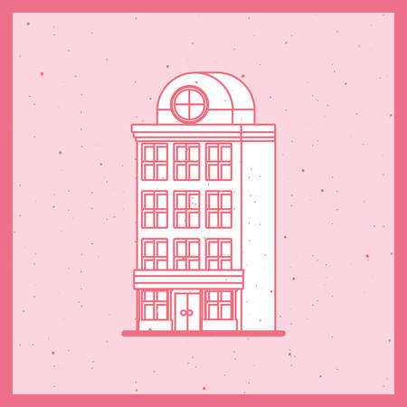apartments building icon over pink background, retro colorful design, vector illustration