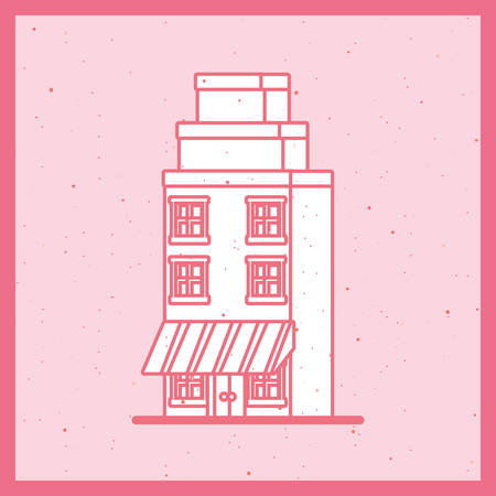 Urban city building icon over pink background, retro colorful design, vector illustration
