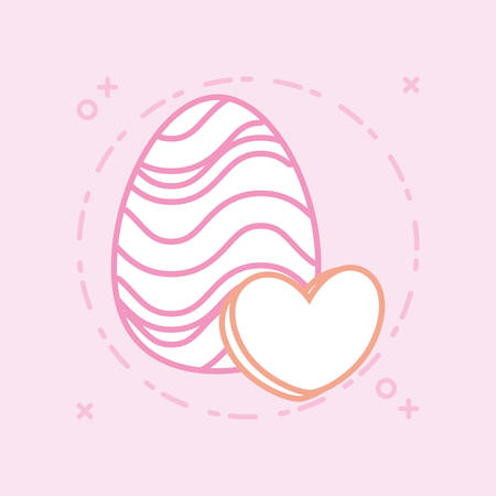 easter egg and heart icon over pink background, colorful design vector illustration Иллюстрация