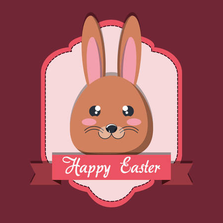 happy easter design with decorative frame and over red background, colorful design vector illustration
