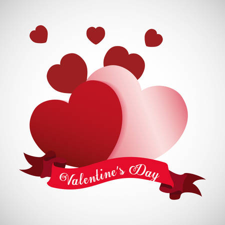 saint valentines day design with decorative ribbon and hearts over white background, colorful design vector illustration