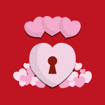 saint valentines day design with heart padlock icon over red background, colorful design vector illustration Illustration