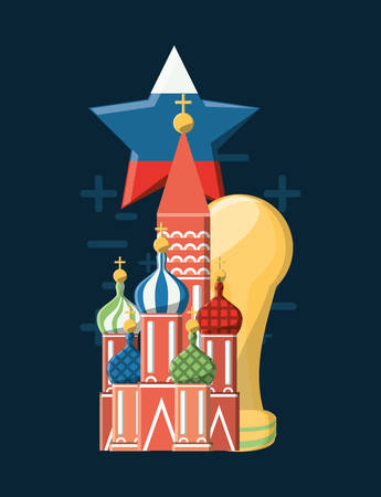 Saint basils cathedral with star with russian flag design and trophy cup  icon over blue background, colorful design vector illustration