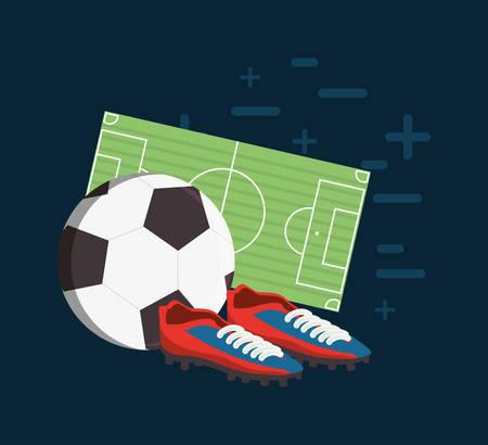 Ballon de football avec des chaussures de football et terrain sur backgorund bleu, illustration vectorielle design coloré.