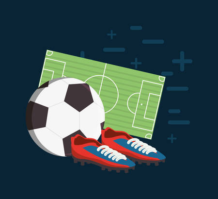 Soccer ball with football boots and field over blue backgorund, colorful design vector illustration. Illustration