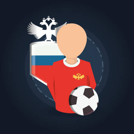 Football player with russian shield and soccer ball over blue backgorund, colorful design vector illustration Illustration