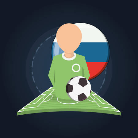 Referee with russian flag button and soccer ball over blue backgorund, colorful design vector illustration.