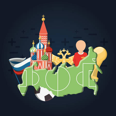 Saint basils cathedral and World cup Russia related icons over blue background, colorful design vector illustration