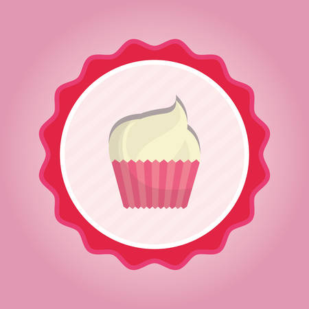 seal stamp with cupcake icon over pink background, colorful desgin vector illustration