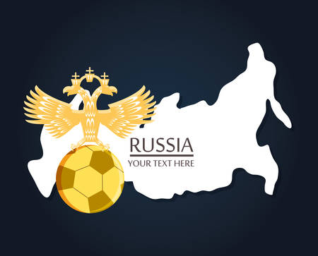 Russian emblem with soccer ball and Russia map over blue background
