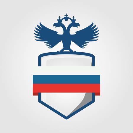 Shield with Russia design over background Vettoriali