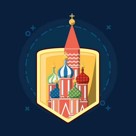shield with Saint Basils Cathedral icon over blue background, colorful design vector illustration
