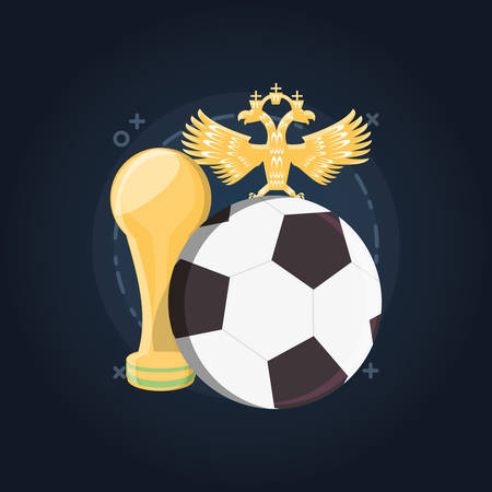 Russia Soccer World Cup design with trophy cup and soccer ball over blue background, colorful design. vector illustration