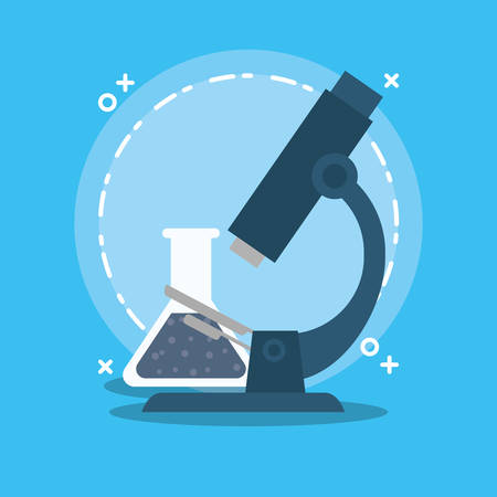 Microscope and chemical flask over blue background, colorful design vector illustration