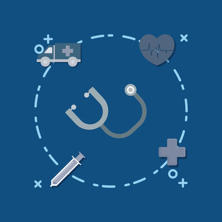 Sthetoscope and medical service related icons around over blue background, colorful design vector illustration