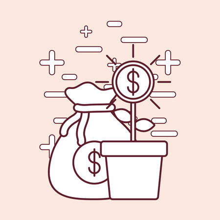 Money plant and sack with money, vector illustration design.