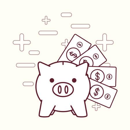 Piggy bank and money bills over white background vector illustration Illustration