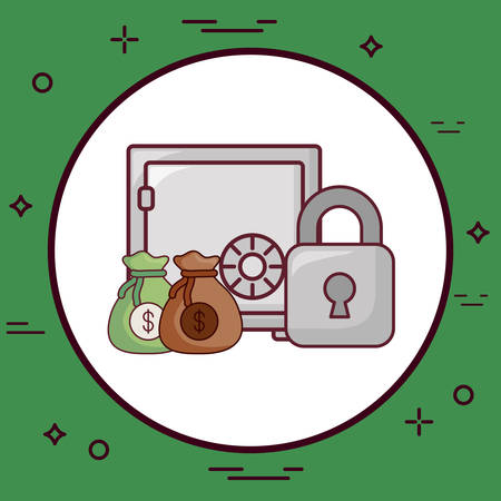 Strongbox with padlock and money sacks over green background, colorful design vector illustration