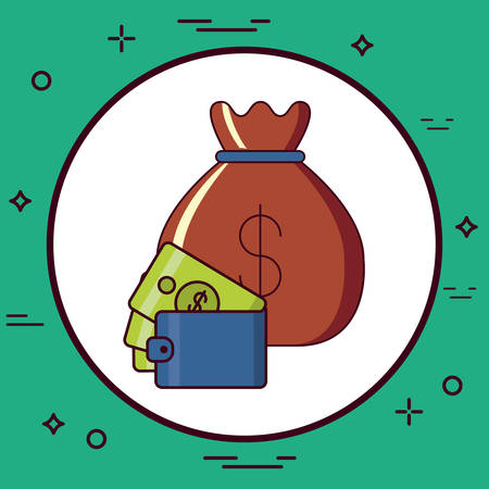 Money sack and wallet with money bills over white circle and turquoise background, colorful design vector illustration
