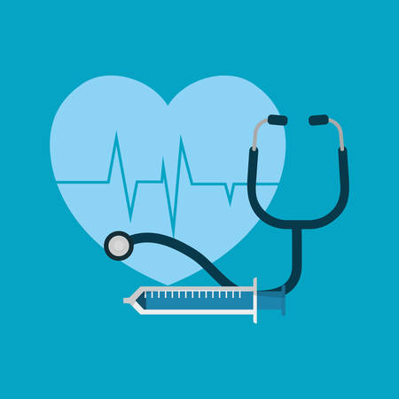 cardio heart and stethoscope with injection over blue background, colorful design vector illustration