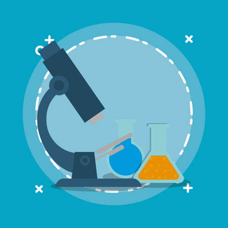 microscope and chemical flasks over blue background, colorful design vector illustration