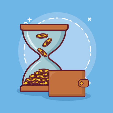wallet and Hourglass with money over blue background colorful design. vector illustration Иллюстрация